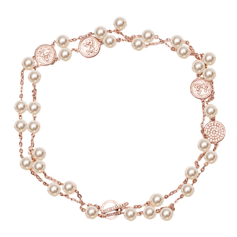 Pearl and Disk Inspired Swarovski Crystal Pave Pendant Statement Necklace (Rose Gold or Silvertone) Ritzy Couture