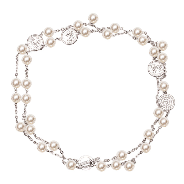 Pearl and Disk Inspired Swarovski Crystal Pave Pendant Statement Necklace (Silvertone) Ritzy Couture