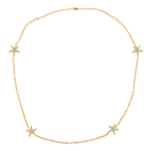Starfish Inspired Swarovski Pacific Opal Pave Station Necklace (Goldtone) Ritzy Couture
