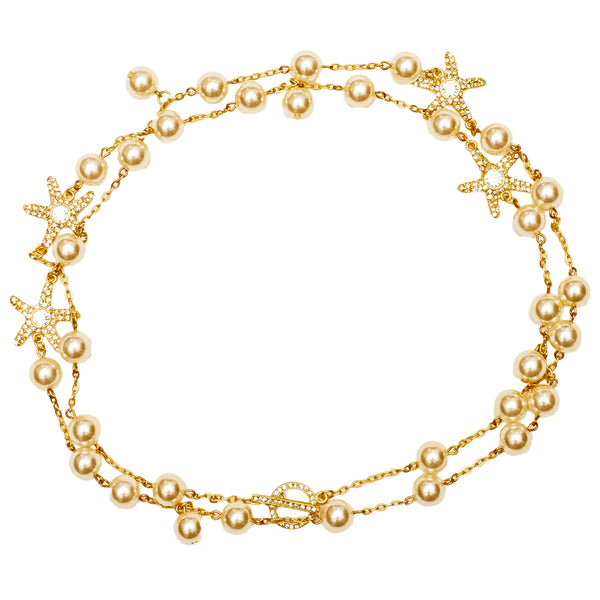 Pearl and Starfish Swarovski Crystal Pave Necklace (Goldtone)