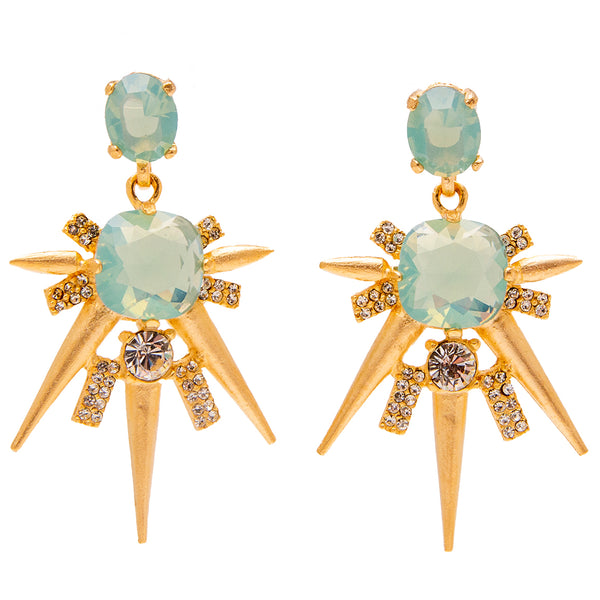 Shooting Starburst Inspired Swarovski Crystal Pave Post Earrings (Goldtone) Ritzy Couture