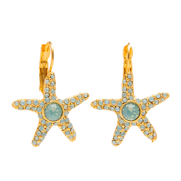 Starfish and Beach Inspired Swarovski Crystal Pave Leverback Earrings (Goldtone) Ritzy Couture