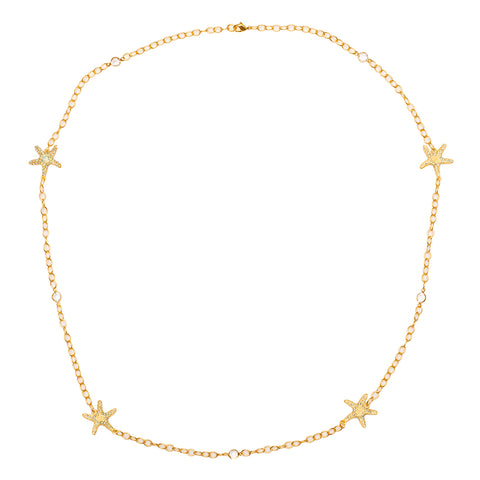 Starfish Inspired Swarovski Crystal Pave Station Necklace (Goldtone) Ritzy Couture