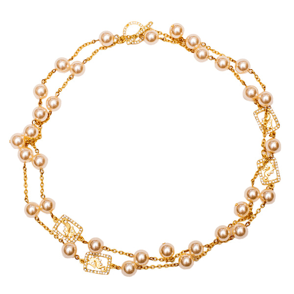 Pearl and Seahorse Inspired Swarovski Crystal Pave Statement Necklace (Goldtone) Ritzy Couture