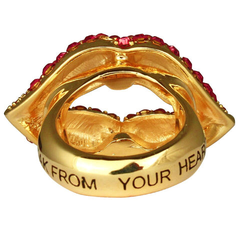 Lips & Heart Charm Ring