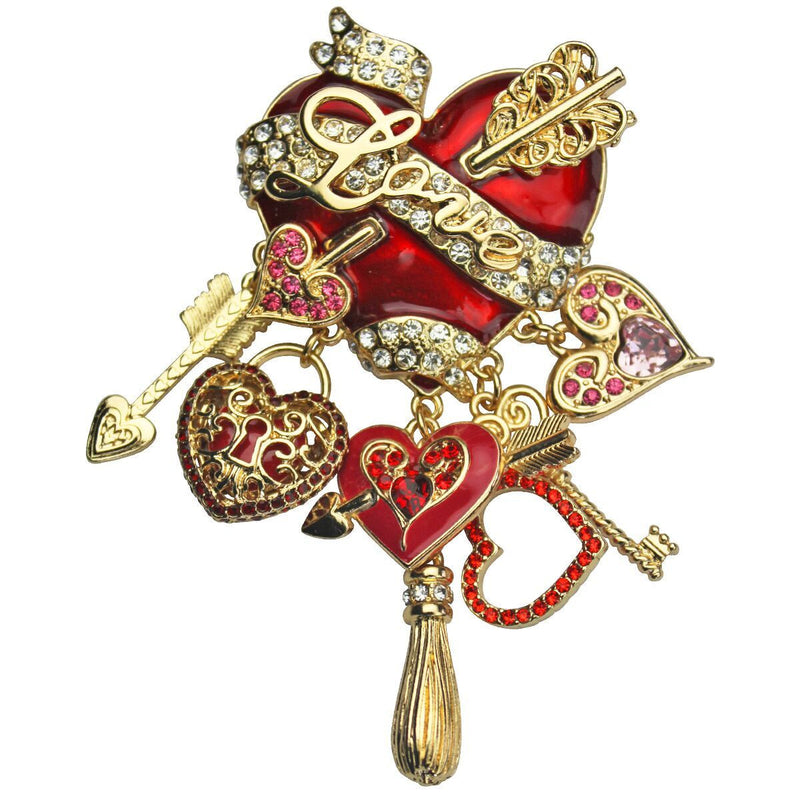 Love and Heart Arrow Charm Pin Pendant - Love Jewelry
