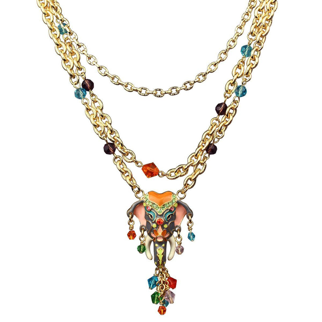 Royal Maharaja Elephant Dangle Necklace Jewelry