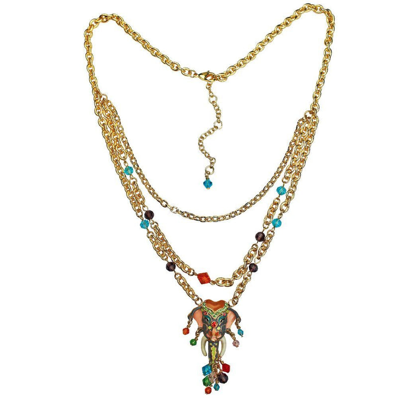 Royal Maharaja Elephant Dangle Necklace Jewelry - Back Side