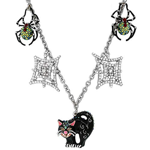Ritzy Couture Halloween Black Cat and Spider Multi Charm (Silvertone) Necklace Women's Jewelry