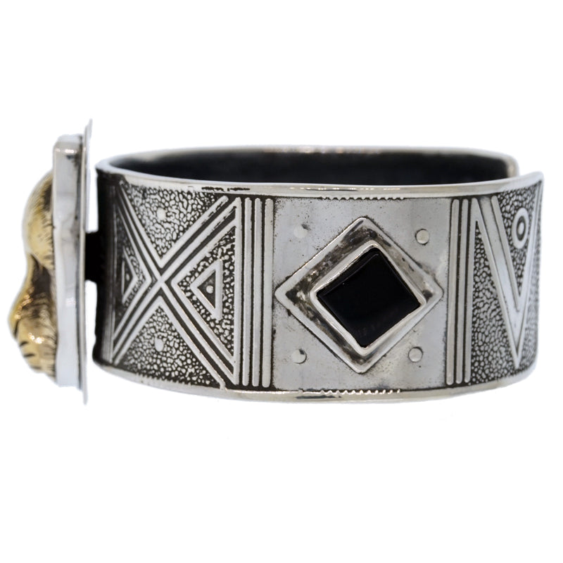 Tabra Jewelry - Bronze Jaguar Onyx Cuff Bracelet - Left Side