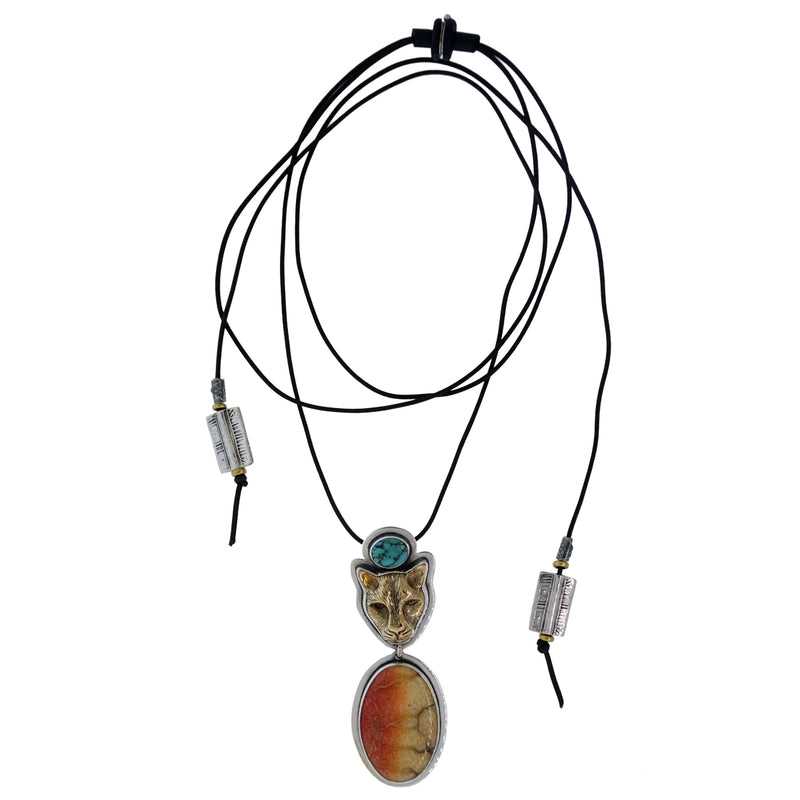 Tabra Jewelry - Bronze Jaguar Coral Pendant Necklace