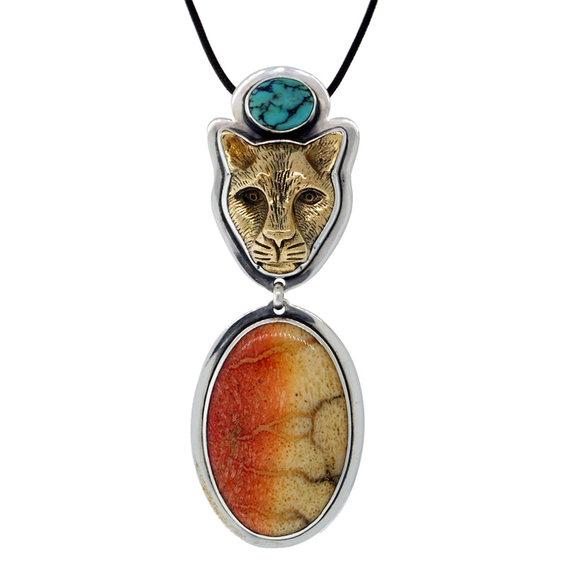Tabra Jewelry | Bronze Jaguar Coral Pendant Necklace