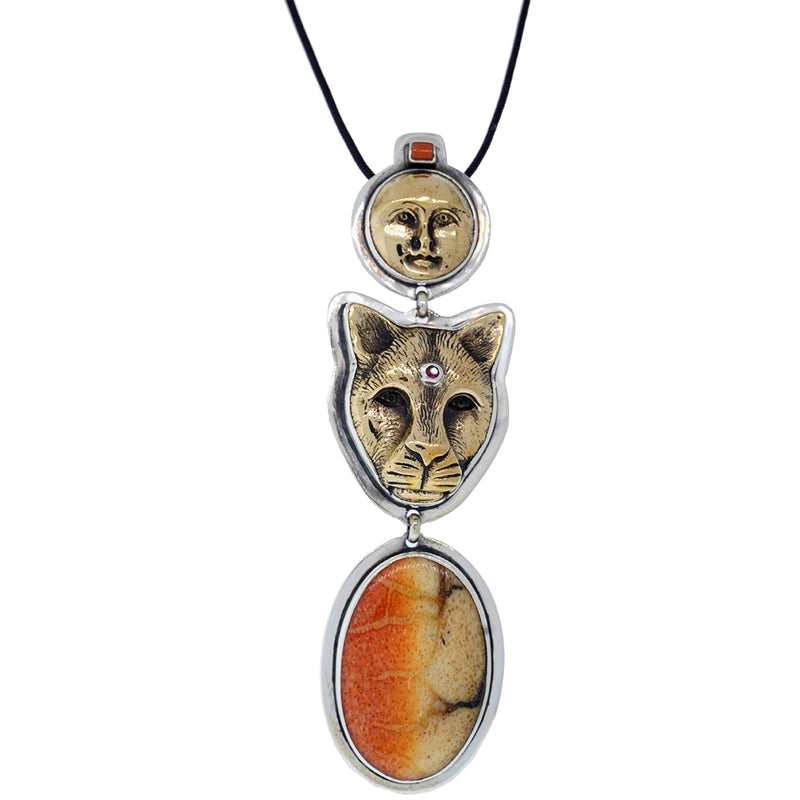 Tabra Charm Jewelry - Jaguar and Moon Pendant Necklace - Tabra Necklace