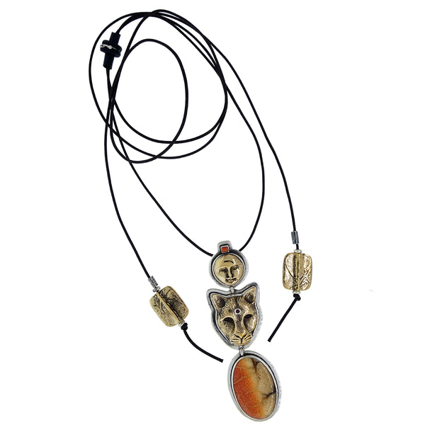 Tabra 925 Sterling & Bronze Jaguar and Moon Necklace NEW from Esme's Vault OOK201