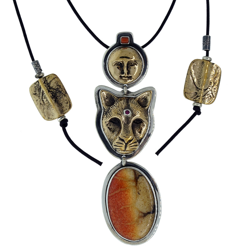 Tabra Charm Jewelry - Jaguar and Moon Pendant Necklace