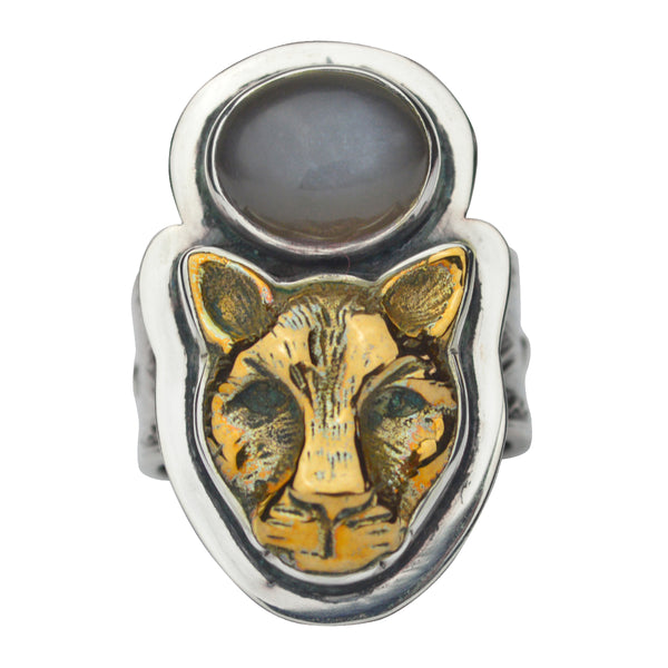 Tabra 925 Sterling Bronze Jaguar Moonstone Ring from Esme's Vault OOK262 Sz 9.5