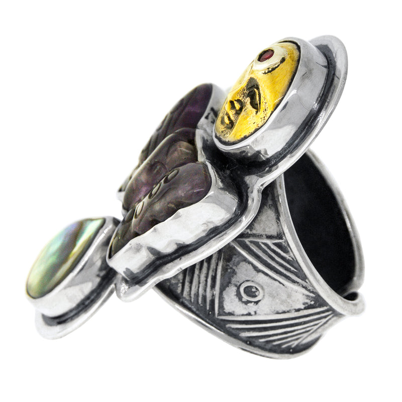 Silver Antique Bronze Ruby Amethyst Abalone Ring - Side View