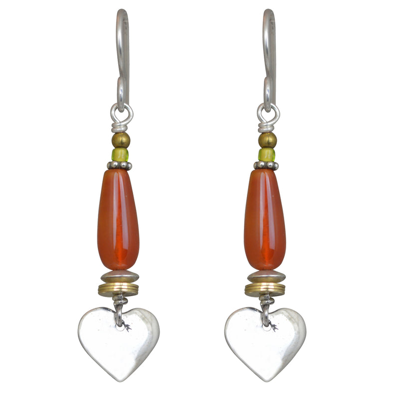 Tabra Charm Jewelry | Hearts Carnelian Drop Earrings