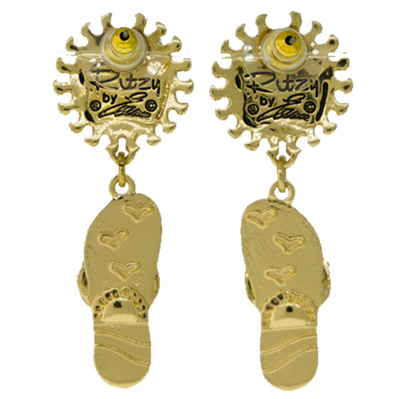 Ritzy Couture Summer Fun Flip Flop Sun Face Drop Dangle Earrings (Goldtone)