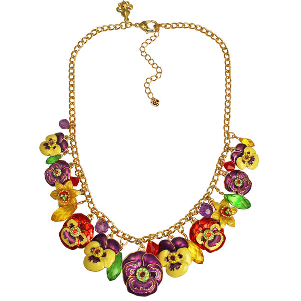Multi Color Pansy Flower Daffodil Garden Party Charm Necklace (Goldtone) Ritzy Couture