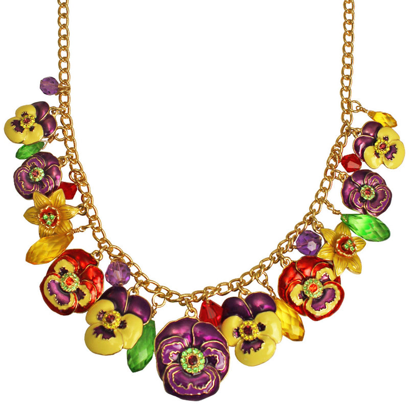 Pansy Flower Multi Color Charm Necklace Jewelry - Back Side