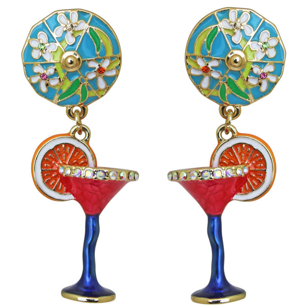 Pool Party Red Cosmo Cocktail Glass Multi Color Dangle Earrings (Goldtone) Ritzy Couture