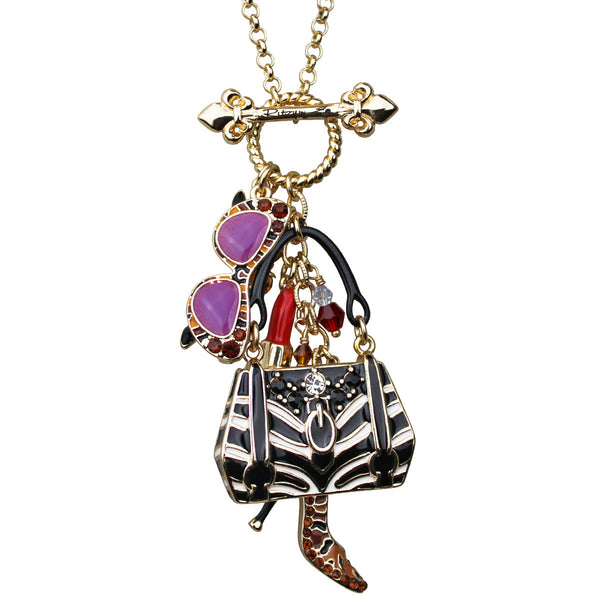 Multi Color Accessories Shopping Charm Toggle Necklace (Goldtone) Ritzy Couture