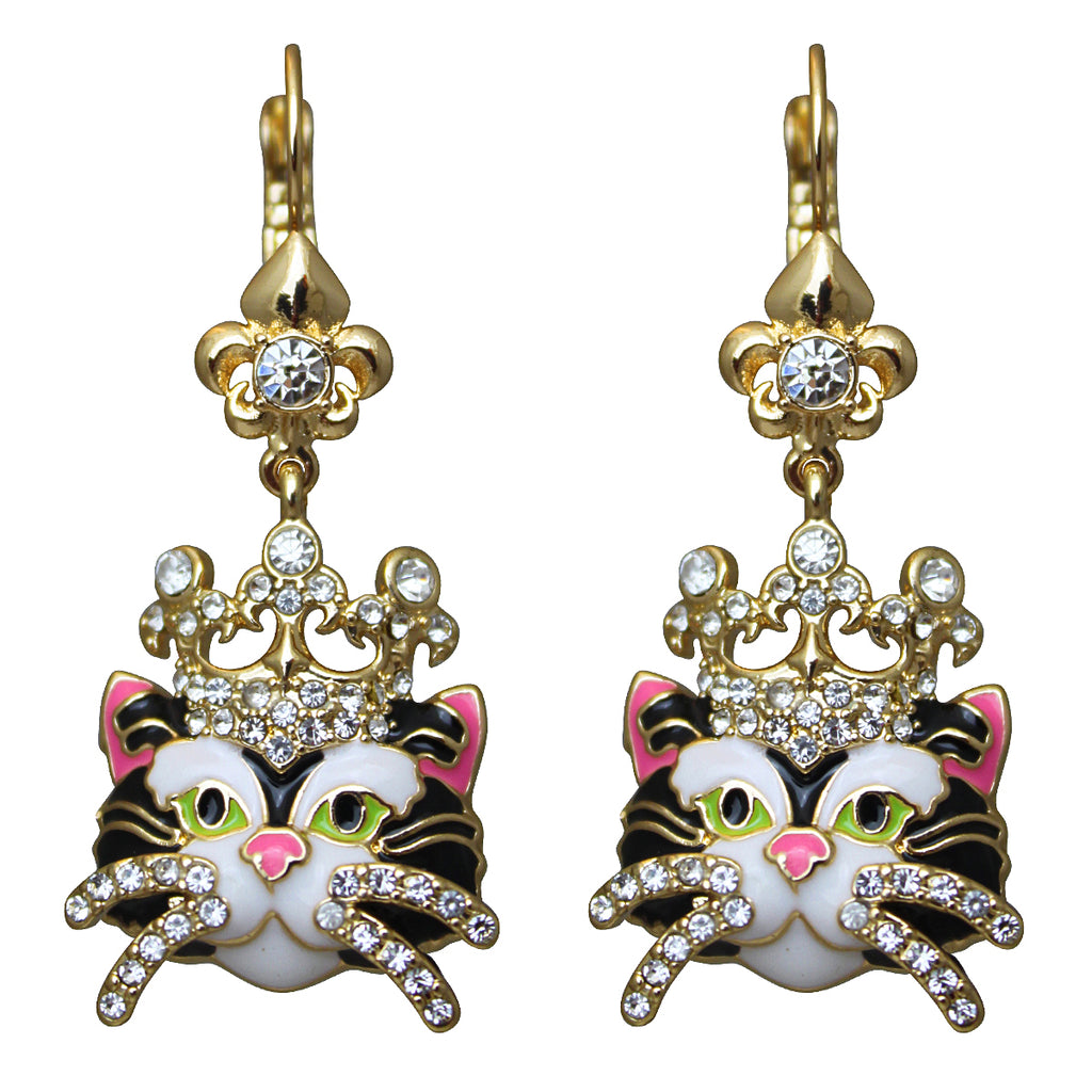 Princess Kitty Black Cat Earrings - Jewelry Earrings