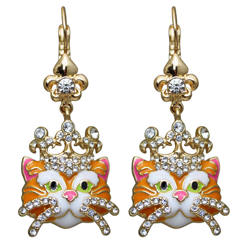 Princess Kitty Drop Leverback Cat Earrings (Ginger Tabby/Goldtone) Ritzy Couture