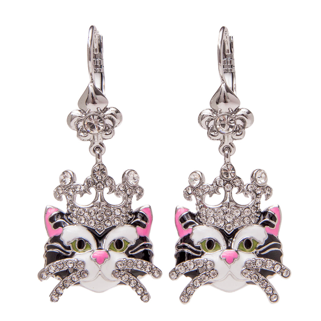 Princess Kitty Drop Leverback Earrings - Cat Jewelry