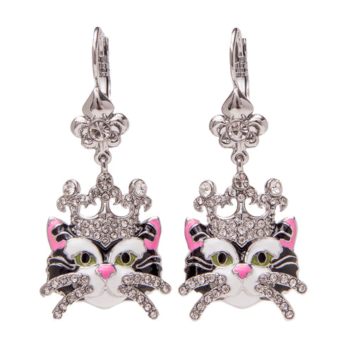 Princess Kitty Drop Leverback Earrings (Black/Silvertone) Ritzy Couture