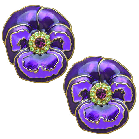 Pretty Pansy Purple Spring Flower Button Earrings (Goldtone) Ritzy Couture