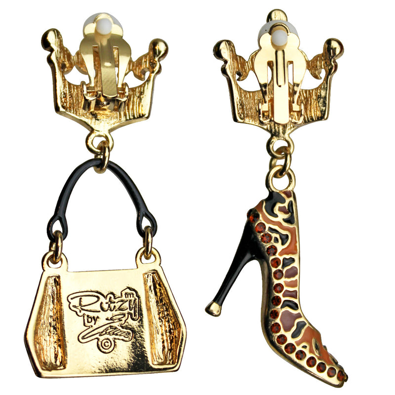 Purse and Shoe Shopping Accessories Jewelry Earrings - Back Side