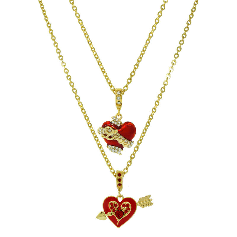 Love Heart Necklace Chain - Love Heart Bracelet - Pair