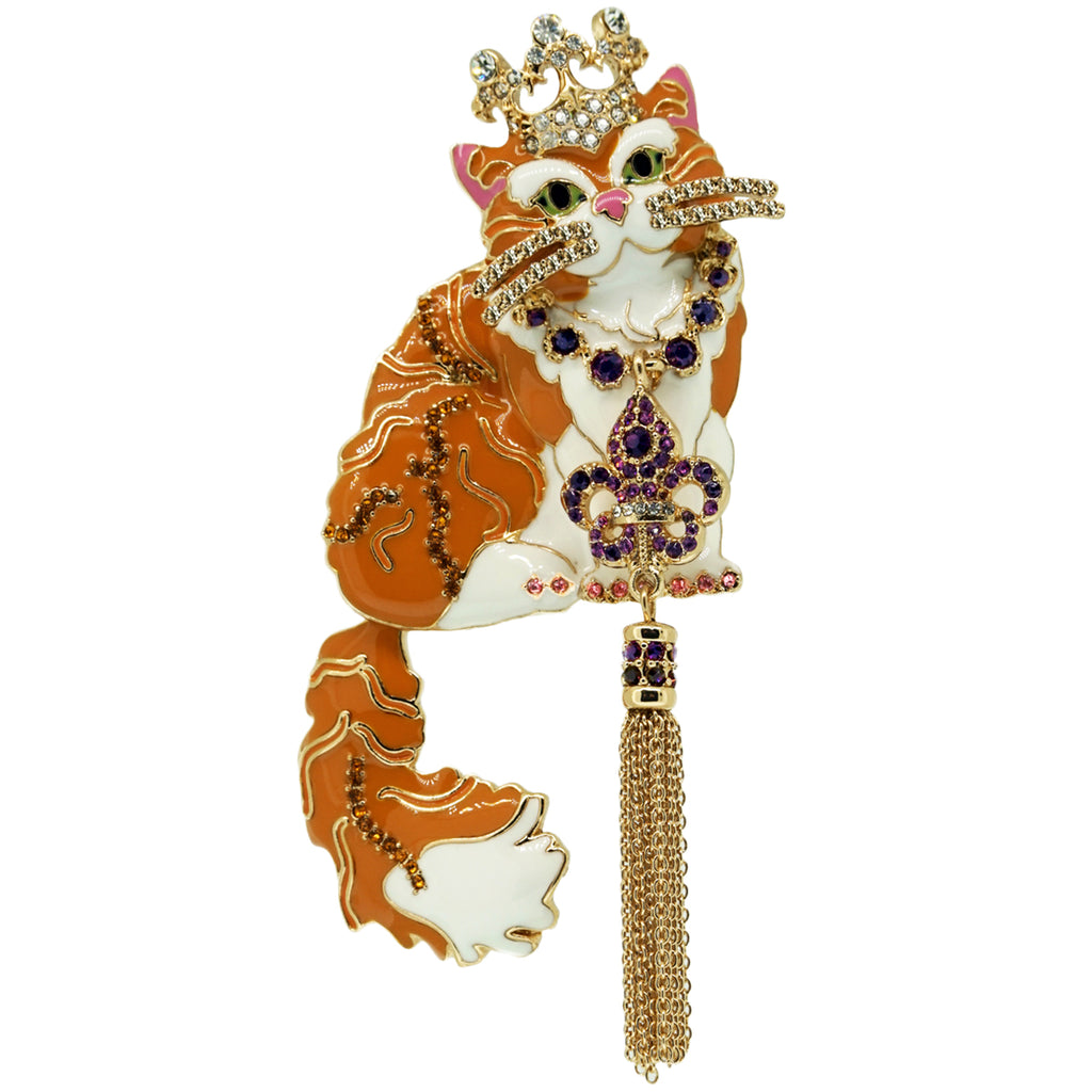 Princess Kitty Ginger Tabby Pin Pendant - Cat Jewelry