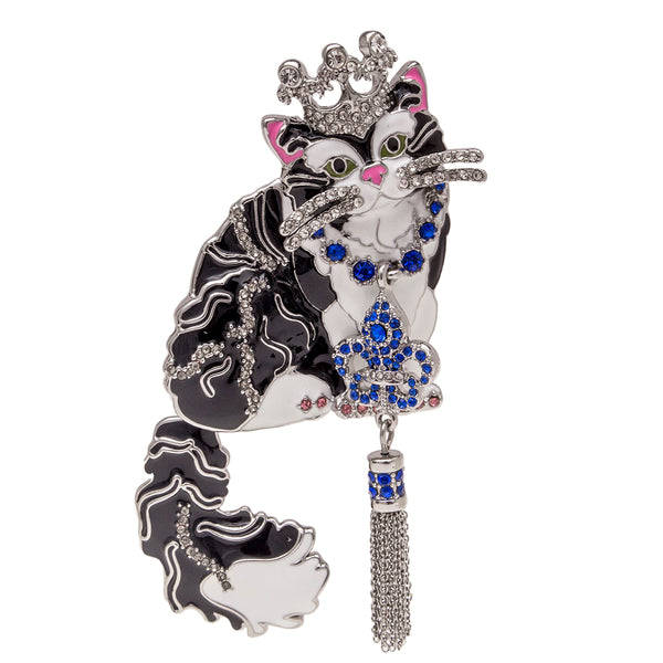 Princess Kitty Black Tuxedo Cat Pin Pendant (Silvertone) Ritzy Couture