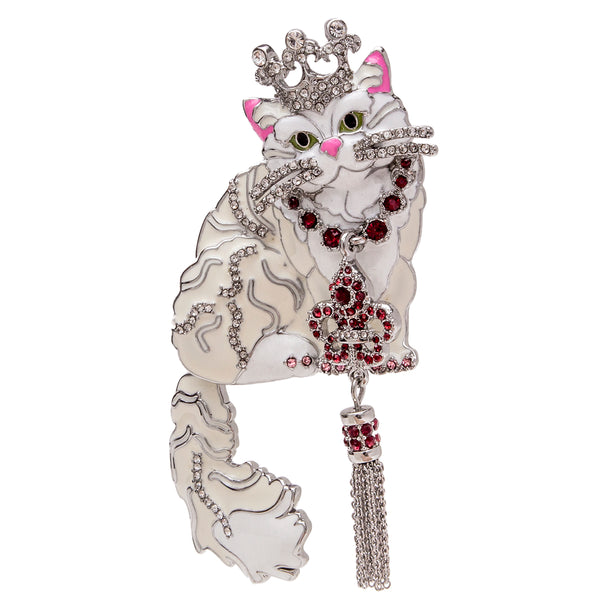 Princess Kitty White Cat Pin/Pendant (Silvertone) Ritzy Couture