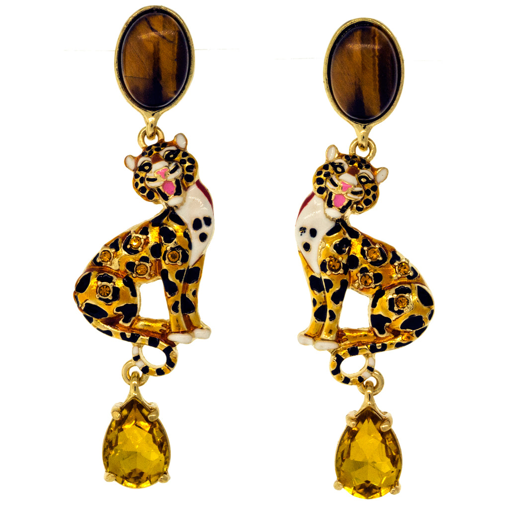 """Intrepid Leopard"" Tiger Eye Drop Jewelry Earrings"