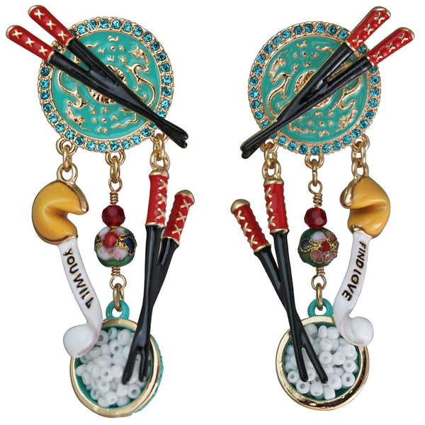 Multi Color Chinese Takeout Dangle Earrings (Goldtone) Ritzy Couture