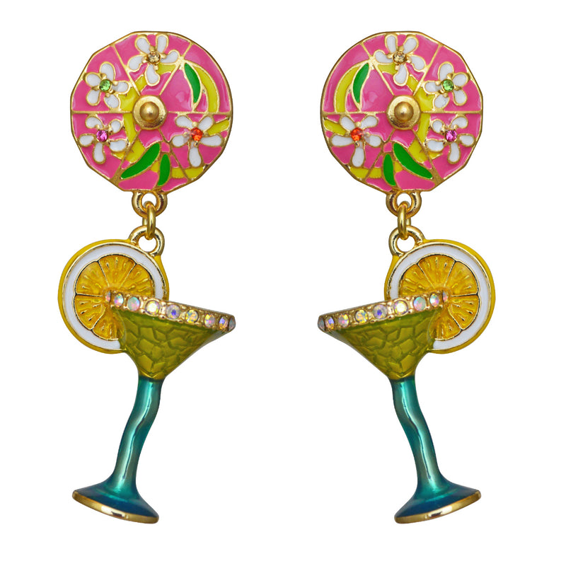 Margarita Pool Party Cocktail Dangle Earrings