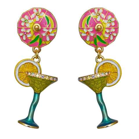 Pool Party Green Margarita Cocktail Glass Dangle Earrings (Goldtone) Ritzy Couture