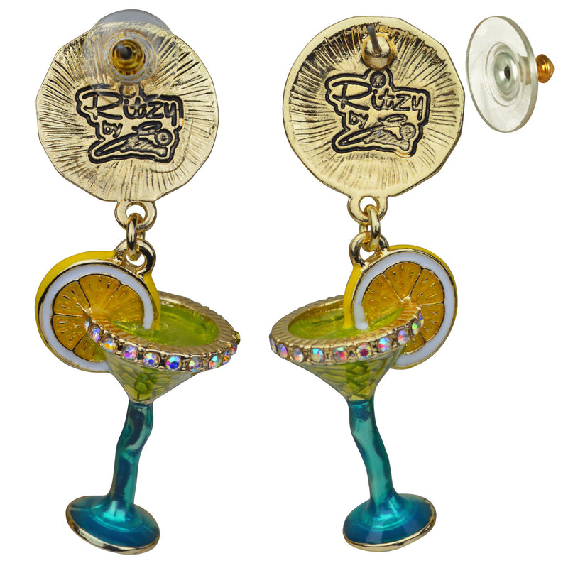 Margarita Pool Party Cocktail Dangle Earrings - Back Side