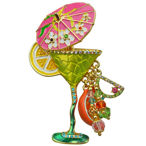 Pool Party Green Margarita Cocktail Glass & Umbrella Pin Pendant (Goldtone) Ritzy Couture
