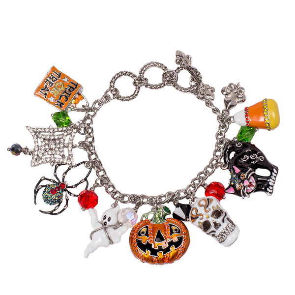 Trick or Treat Halloween Charm Adjustable Toggle Bracelet (Silvertone) Ritzy Couture