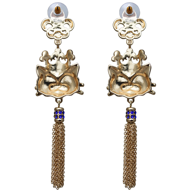 Princess Kitty Royal Tassel Earrings For Women - Back Side