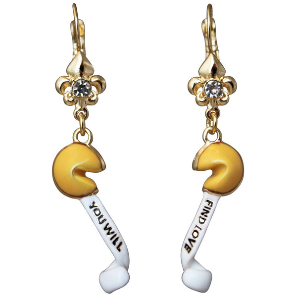 Chinese Fortune Cookie Good Luck Drop Leverback Earrings (Goldtone) Ritzy Couture