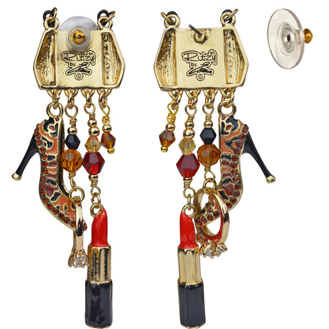 "Accessories ""Shopping"" Deluxe Multi Charm Purse Shoe Lipstick Earrings (Goldtone) Ritzy Couture"