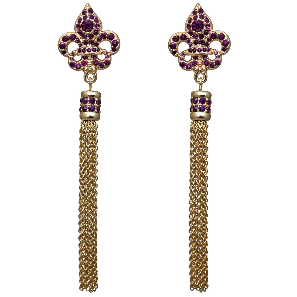 Royal Pave Fleur de Lis Amethyst Tassel Jewelry Earrings
