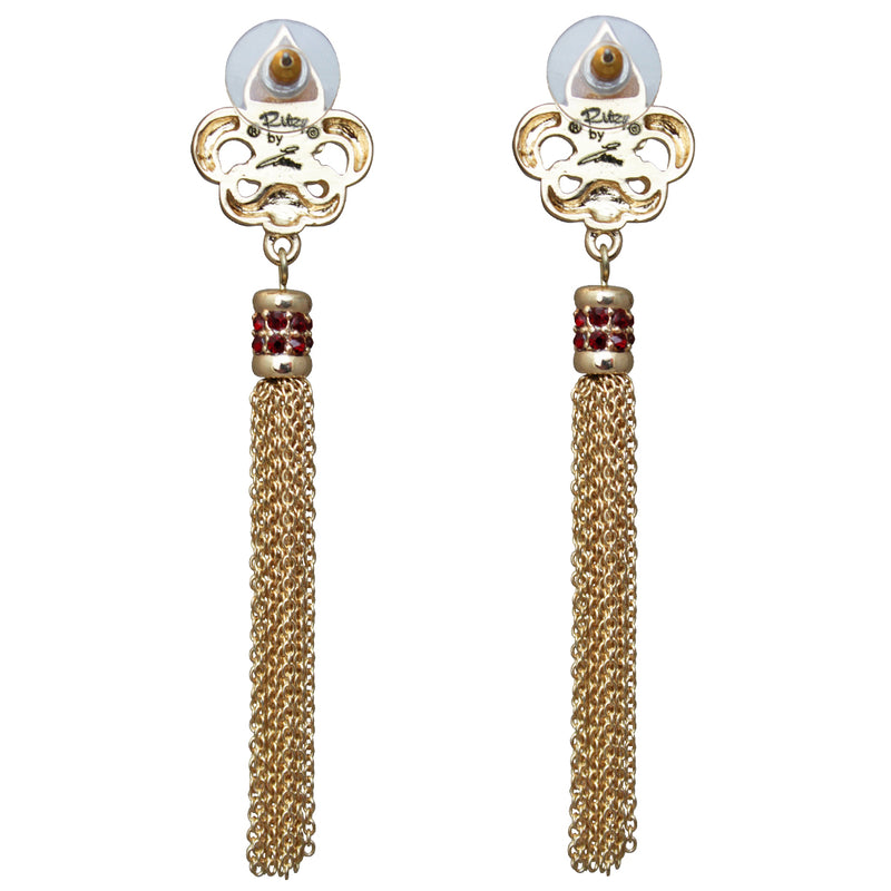 Royal Pave Fleur de Lis Siam Ruby Tassel Earrings - Jewelry Earrings