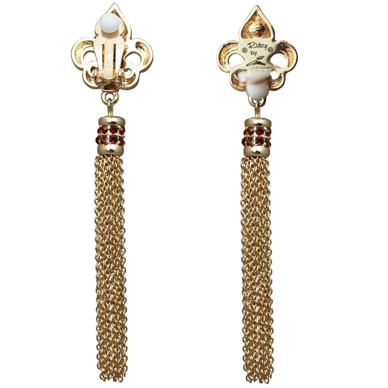Royal Pave Fleur de Lis Siam Ruby Tassel Earrings - Back Side
